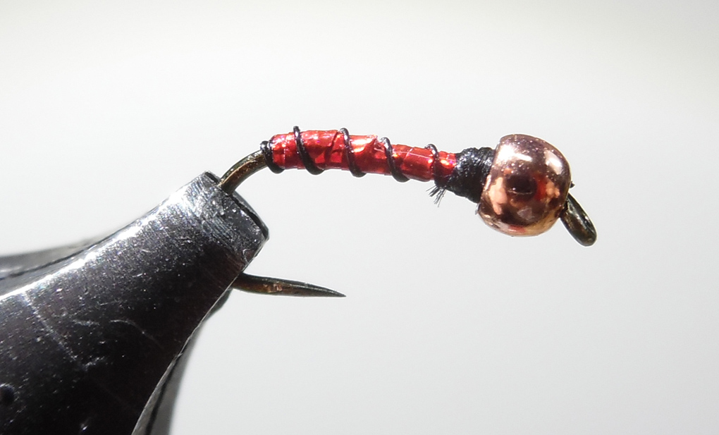 12 Ruby Red Zebra Midge Beadhead Size 16 Hook